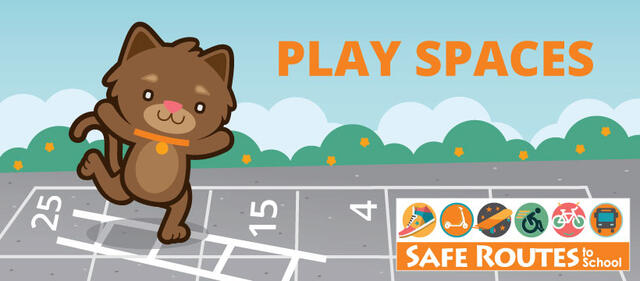 A cartoon drawing of a cat smiling and jumping between squares on a Chutes and Ladders board. The text says Play Spaces in orange letters and has a Safe Routes to School logo .