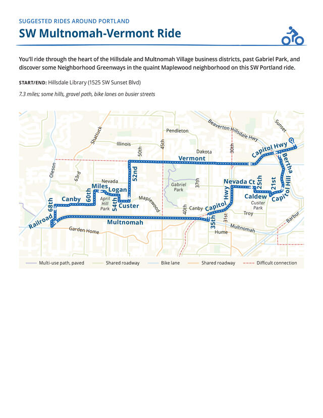 Map of a route for a bike ride on neighborhood greenways in Southwest Portland.