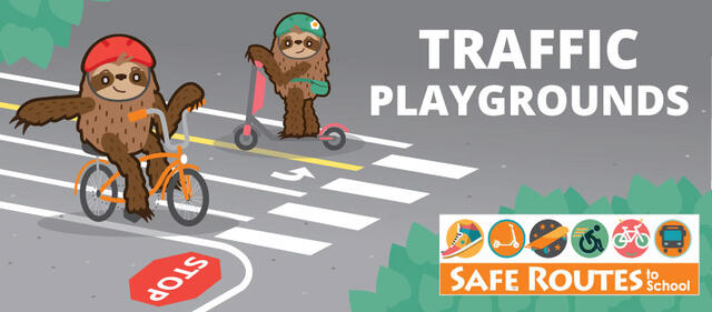A cartoon drawing of two sloths: one is riding an orange bike in a red helmet and is stopped at a stop sign painted on the ground. They are signaling right as they prepare to turn. The other sloth is riding a pink kick scooter in a green helmet with a flower on it. They are looking at us as they ride their scooter past the other sloth.