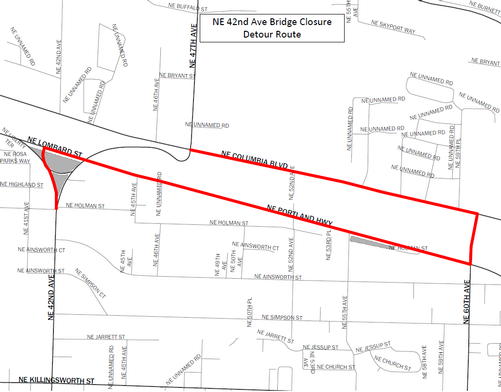 NE 42nd Avenue Bridge Detour Map