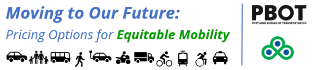 Logo that says Pricing Options for Equitable Mobility