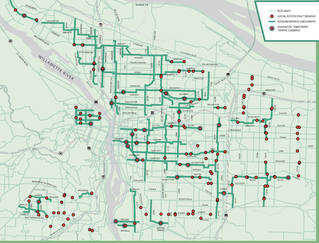 "As part of PBOT's Covid-19 response, 118 miles of city streets were designated as ""Slow Streets."""