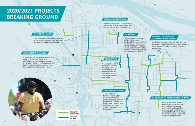 Map of 2020/2021 Neighborhood Greenway Projects Breaking Ground