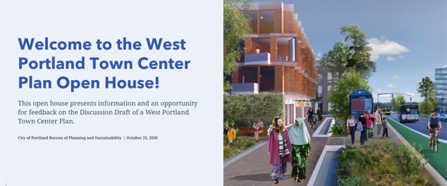"""Welcome to the West Portland Town Center Plan Open House"" text on left. Mockup image of Barbur with apartment building, people on sidewalk, bikes, bus, and MAX."