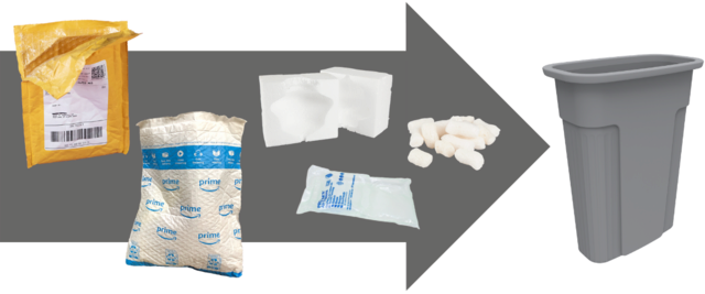 Plastic padded mailers, Styrofoam blocks and peanuts, plastic air pockets go into trash
