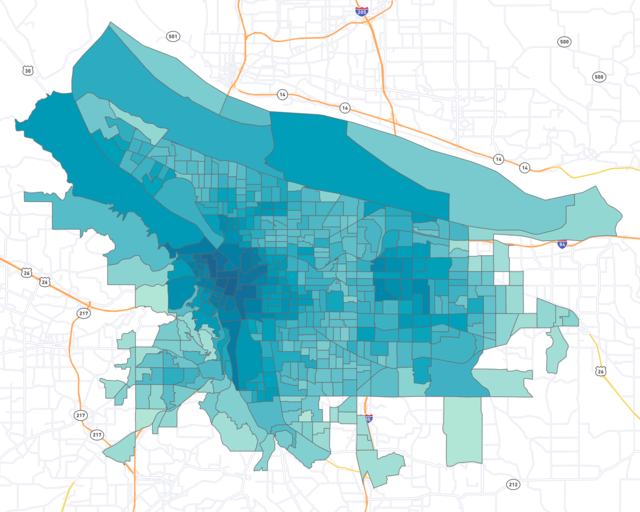 Census block groups in Portland filled with various colors