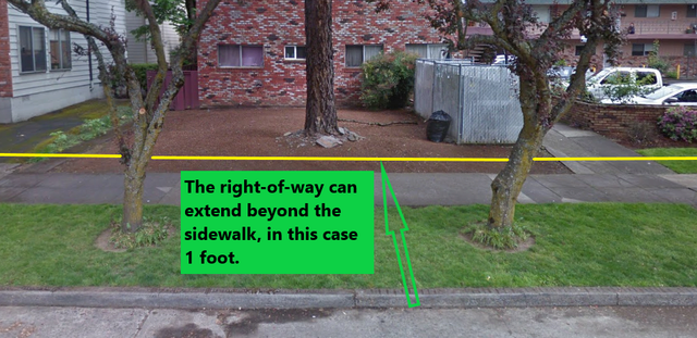 Right of way line beyond the sidewalk example