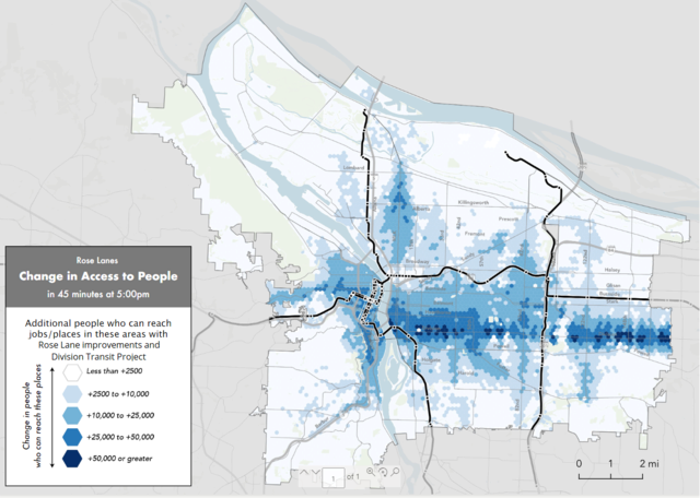 Map showing change in how many people can reach businesses and places in 45 minutes with Rose Lane Project improvements and Division Transit Project