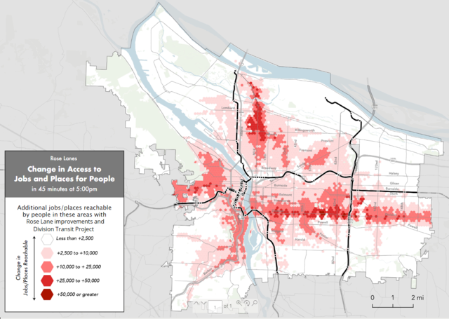 Map showing increase in access to jobs due to Rose Lane project and Division Transit Project