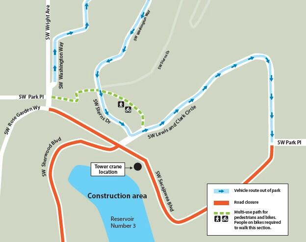 Map showing the closure of SW Sherwood Blvd. and SW Sacajawea Blvd., as well as the traffic reversal on SW Lewis and Clark Circle and SW Washington Way.