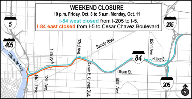 A map of the I-84 closure for the placement of the Blumenauer Bridge.