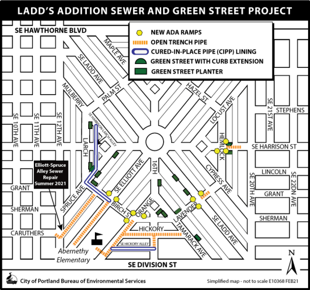 Ladd's Addition Sewer and Green Street Project Map with Methods of construction