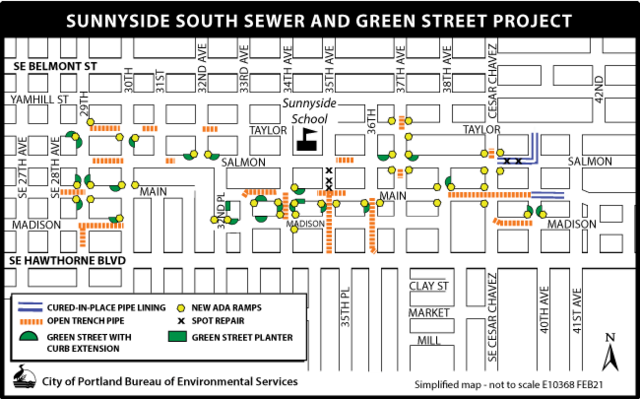 Sunnyside South Sewer and Green Street Map with methods proposed