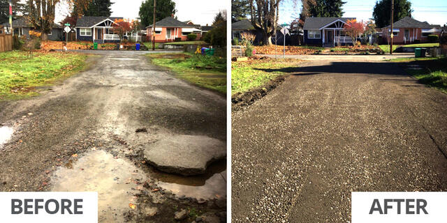 Before and after: SE Ash Street between SE 73rd and 74th streets was graded and graveled in November 2019. Photos by PBOT.